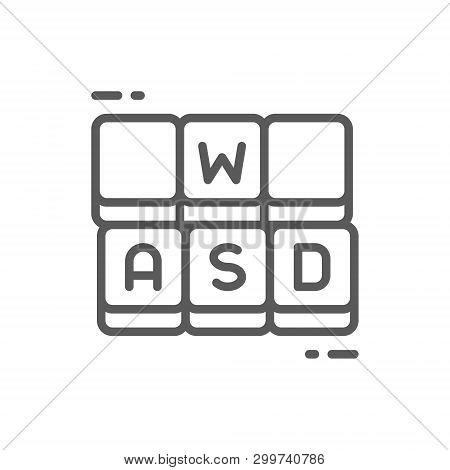 Hotkeys, Game Keyboard Line Icon. Isolated On White Background