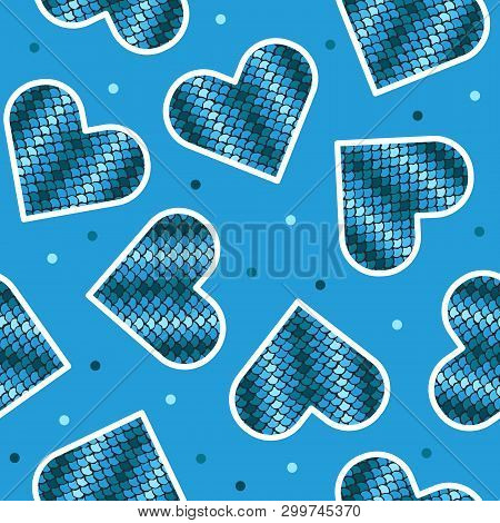 Seamless Pattern With Fish Skin In Shape Of Heart. Trendy Animal Squama Print. Fashion Vector Illust