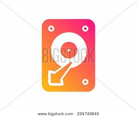 Hdd Icon. Hard Disk Storage Sign. Hard Drive Memory Symbol. Classic Flat Style. Gradient Hdd Icon. V