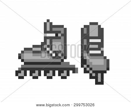 Pair Of Black Inline Roller Skates, Pixel Art Icon Isolated On White Background. Sport Equipment. Re