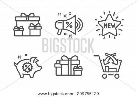 Holiday Presents, Surprise Boxes And Sale Megaphone Icons Simple Set. Piggy Sale, New Star And Cross