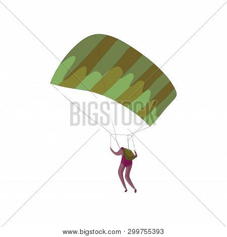 Skydiver Soars On An Open Parachute. Vector Illustration On White Background.