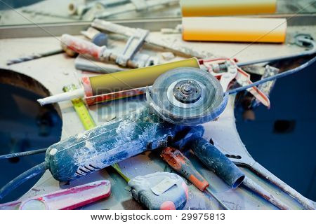 home improvement repair messy clutter with dusted tools handtools