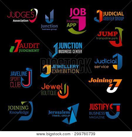 J Letter Icons Of Business Company Corporate Identity Signs In Technology And Service. Vector J Symb