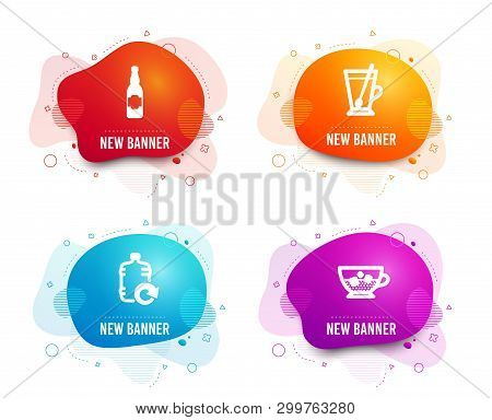 Liquid Badges. Set Of Refill Water, Tea Mug And Beer Bottle Icons. Cold Coffee Sign. Cooler Bottle,