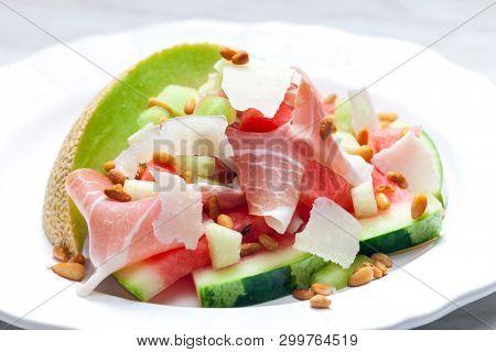 stillife of salad with galia melon