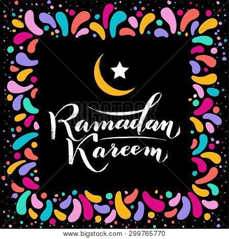 Vector Illustration. Islamic Ramadan Kareem Greeting Gold Lettering Text, Moon, Festive Colorfull Sq