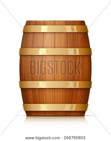 Wooden Barrel. Vessel For Keeping Wine, Beer And Beverage. Equipment For Pub And Wine Cellar. Whisky