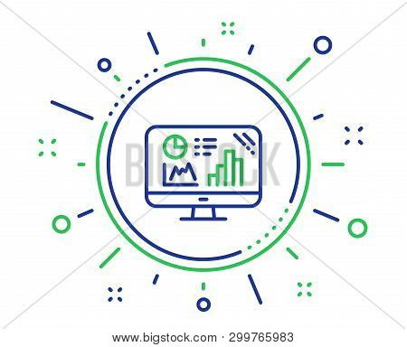 Analytics Graph Line Icon. Column Chart Sign. Growth Diagram Symbol. Quality Design Elements. Techno
