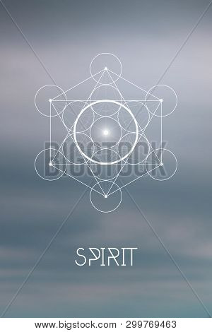 Sacred Geometry Spirit Or Aether Element Symbol Inside Metatron Cube And Flower Of Life In Front Of
