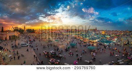 Marrakech, Morocco - April 29, 2019: Jamaa El Fna Market Square, Marrakesh, Morocco, North Africa