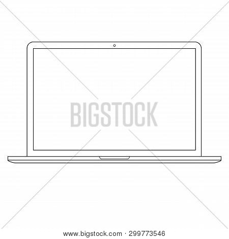Computer Laptop Outline Vector Eps10. Opened Laptop Computer Outline  Vector Eps10. Notebook Compute
