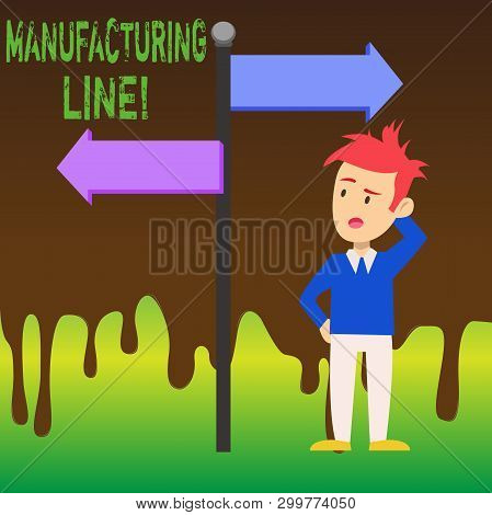Word writing text Manufacturing Line. Business concept for set of sequential operations established in a factory Man Confused with the Road Sign Arrow Pointing to Opposite Side Direction. poster