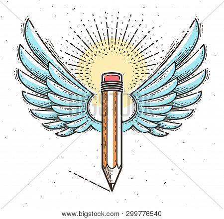 Pencil Wings Vector Vector Photo Free Trial Bigstock
