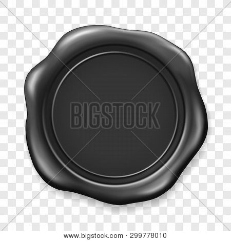 Black Wax Seal. Sealing Wax Old Realistic Stamp Label On Transparent Background. Top View. Empty Bla