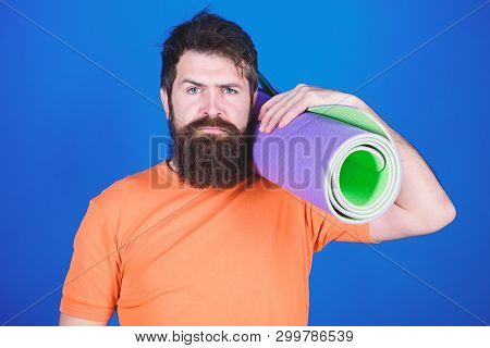 Bearded Man Hipster With Fitness Mat. Sporty Man Training In Gym. Sport Mat Equipment. Athletic Regi