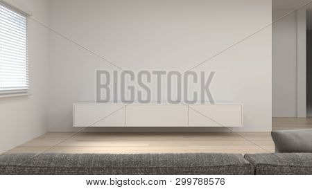 Modern Tv White Cabinet Shelf In Empty Room Interior Background  3d Rendering Home Designs,backgroun
