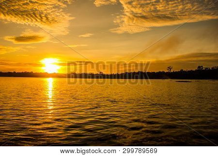 Amazon River, Amazonas, Brazil: Beautiful Sunrise On The Amazon River. Landscape With A View Of The