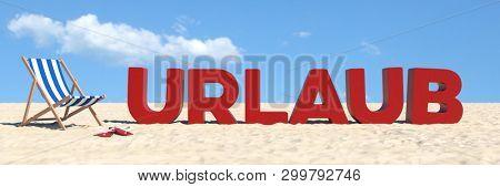 Vacation concept with German slogan
