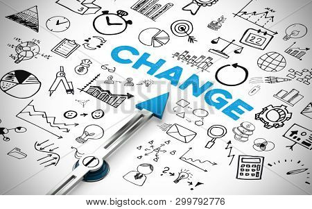 English slogan Change as change business concept with icons (3d rendering)