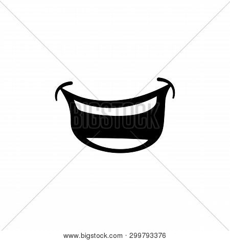 Laugh Or Laughing Mouth Or Smile Cartoon Comic Illustration Icon Flat Vector