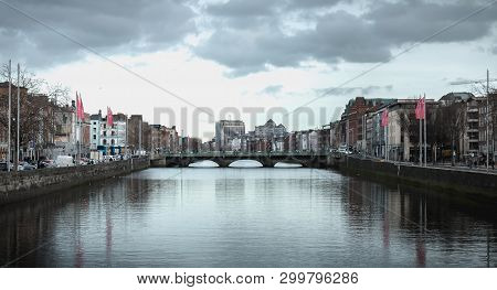 View Of The Shores Of The River Liffey In Dublin, Ireland