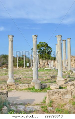 Stunning Ruins Of Ancient Greek City Salamis Located In Todays Northern Cyprus. The White Pillars We