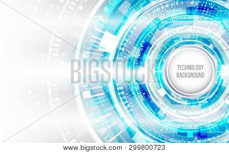 Abstract Circuit Technology Concept. Futuristic Circle Elements Background. Hi-tech Computer Technol