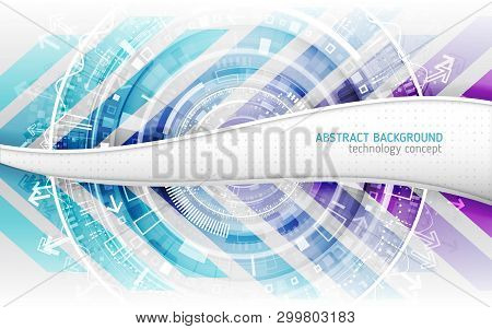 Hi-tech Global Communication. Abstract Futuristic Technological Background With Various Technology E