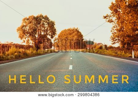 Hello Summer Banner. Text On The Photo. Text Hello Summer. New Month. New Season. Summer. Text On Ph