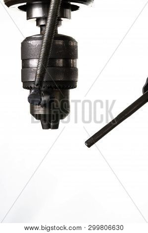 Industrial Metal Drilling Tool Isolated On White Background.