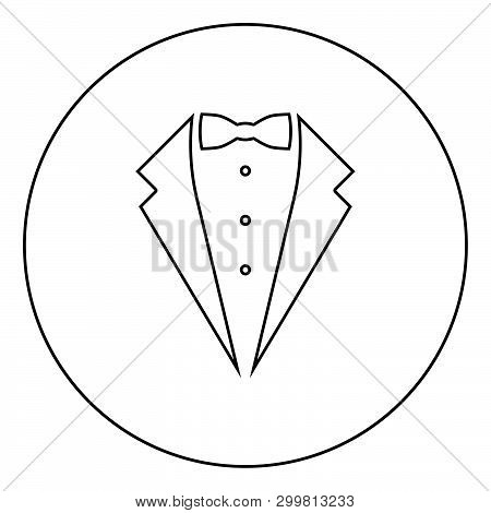 Symbol service dinner jacket bow Tuxedo concept Tux sign Butler gentleman idea Waiter suit icon in circle round outline black color vector illustration flat style simple image 96 poster
