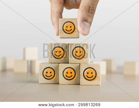 Positive Attitude, Customer Satisfaction, Emotional Management Or Happiness Concept. Wooden Blocks W