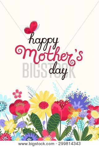 Mother S Day Greeting Card. Mother S Day Background With Hand Written Text Happy Mother S Day And Co