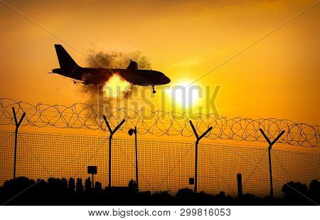 Airplane On Fire In Midair Close To Ground - Digital Manipulation