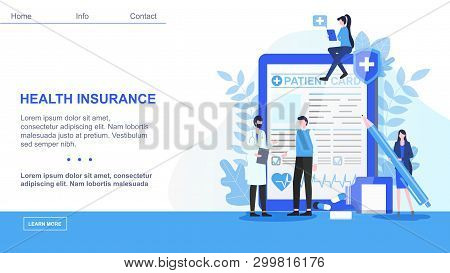 Male Doctor Man Patient Card Woman With Pen Sign Health Insurance Contract Vector Illustration. Medi