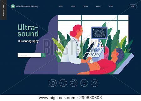 Medical Tests Template - Ultrasound - Modern Flat Vector Concept Digital Illustration Of Ultrasonogr