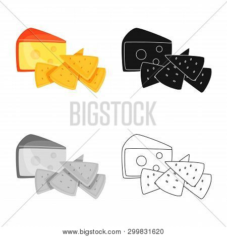 Vector Design Of Cracker And Appetizer  Icon. Set Of Cracker And Lactic Vector Icon For Stock.