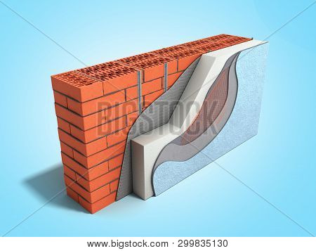 Layered Brick Wall Thermal Insulation Concept 3d Render On Blue Gradient Background