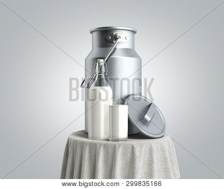 Milk Can Container Near The Bottle And Glass Of Milk On Table 3d Render On Grey Gradient