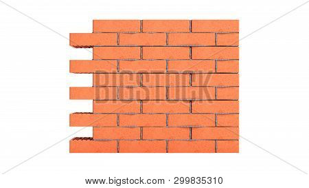 Piece Of Brick Wall 3d Render On White No Shadow