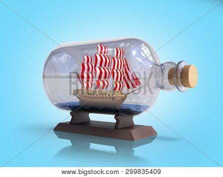 Ship In A Bottle 3d Render On Blue Gradient