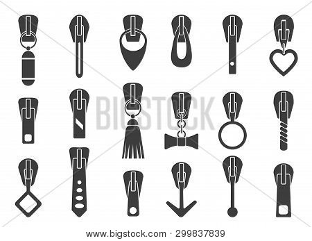 Zipper Pullers. Zip Pulls Vector Illustration, Sportswear Luggage Or Handbags Closure Puller Collect