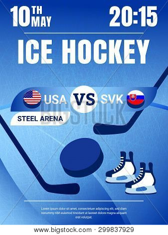 Ice Hockey Poster Vector Illustration. Usa With Slovakia Game Flyer. Countries Flags Icons With Puck