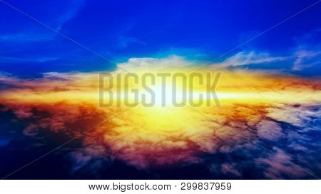 Beautiful Heavenly Landscape With The Sun In The Clouds . View Of Clouds From High Altitude . Paradi