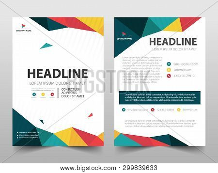 Colorful Polygonal Annual Report Brochure Design Template Vector. Business Flyers Magazine Poster.ab