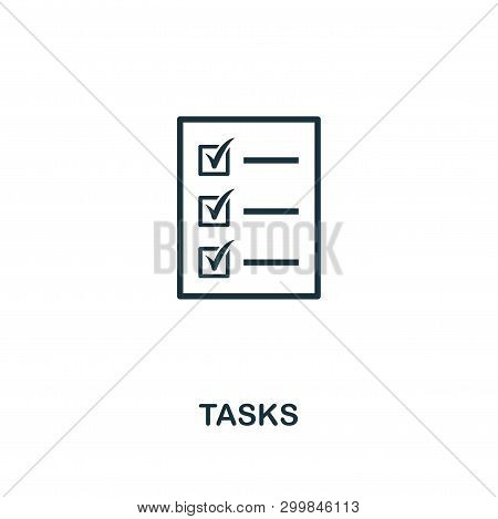 Tasks Icon. Premium Style Design From Startup Icon Collection. Ui And Ux. Pixel Perfect Tasks Icon F