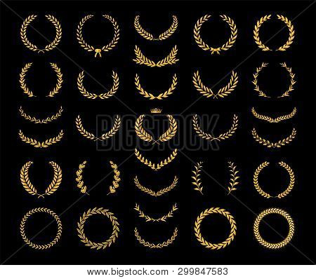 Collection Of Different Golden Silhouette Laurel Foliate, Wheat, Oak And Olive Wreaths Depicting An