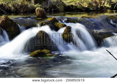Water Movement;  Mountain Stream, Brook  With Falls