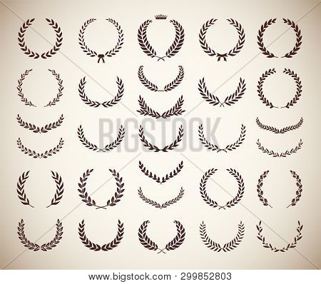 Collection Of Different Vintage Silhouette Circular Laurel Foliate, Olive And Oak Wreaths Depicting
